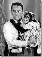 1961 file photo of Joey Bishop with one of the Marquis Chimps on The Joey Bishop Show.